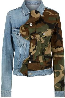 Unravel Camouflage Ruffle Denim Jacket