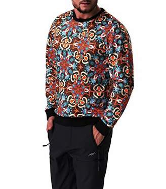 Co Trailside Supply Co.Men's Crewneck Fleece-Lined Sweatshirt Printed Long Sleeve Pull-Over Top