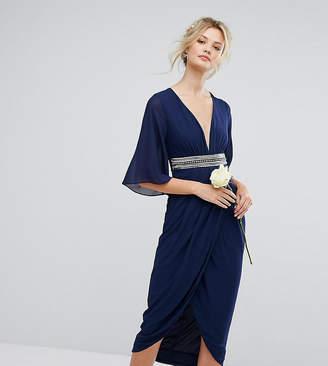 TFNC Tall Wedding Kimono Sleeve Midi Dress With Wrap Skirt