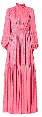 Carolina Herrera Women's Long-Sleeve Satin Jacquard Cut-Out Gown