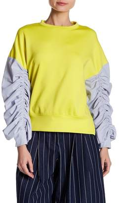 Gracia Striped Ruched Sleeve Top