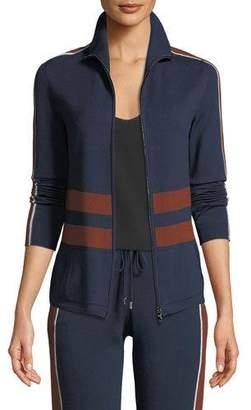 Loro Piana High-Neck Striped Ribbed Athletic Jacket