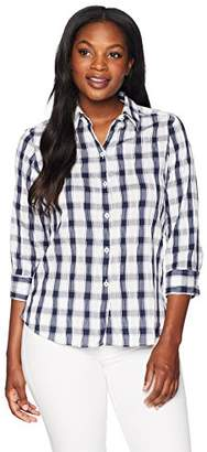 Foxcroft Women's Sue Crinkle Check Blouse