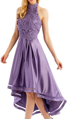 Nicole Miller New York High-Low Cocktail Dress with 3D-Lace Bodice, Purple