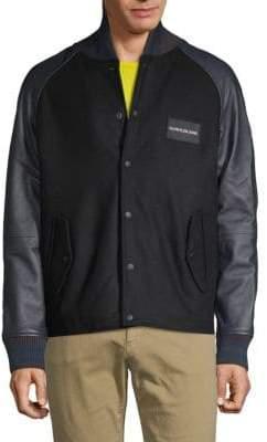 Calvin Klein Jeans Leather Sleeve Varsity Jacket