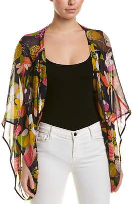 Trina Turk Floral Criss Cross Silk Blouse