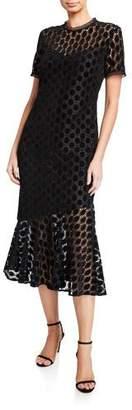 Shoshanna Morgan Geometric Velvet Lace Short-Sleeve Midi Dress