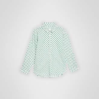 Burberry Polka Dot Cotton Oxford Shirt , Size: 3Y, Green