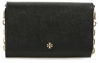 Women's Tory Burch 'Robinson' Leather Wallet On A Chain - Black $295 thestylecure.com
