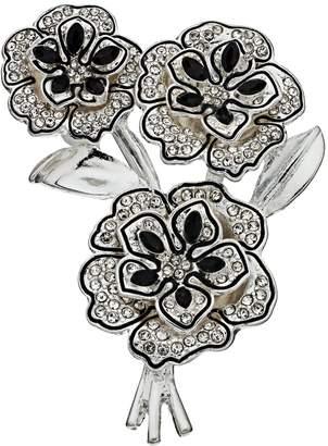 Women's Napier Triple Flower Silver and Black Pin