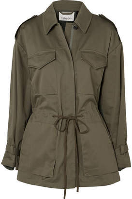 3.1 Phillip Lim Cotton-blend Canvas And Knitted Jacket - Army green