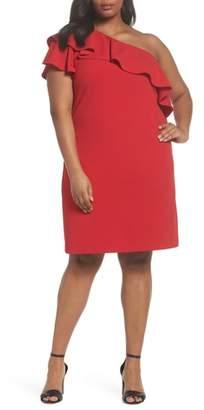 Vince Camuto Ruffle One-Shoulder Scuba Body-Con Dress