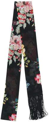 Twin-Set rose print fringed skinny scarf