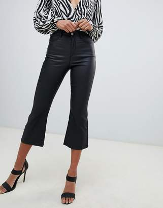 Missguided high rise kick flare coated jeans in black
