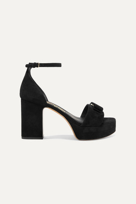 Salvatore Ferragamo Eclipse Bow-embellished Suede Platform Sandals - Black