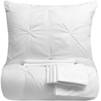 Sweet Home Collection Luxury 9 Piece Pinch Pleat Pintuck Comforter and Sheets Bed in a Bag Set