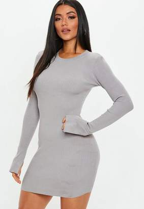 Missguided Grey Crew Neck Bodycon Knit Mini Dress