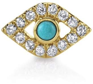 Sydney Evan Turquoise and Diamond Evil Eye Stud Earring