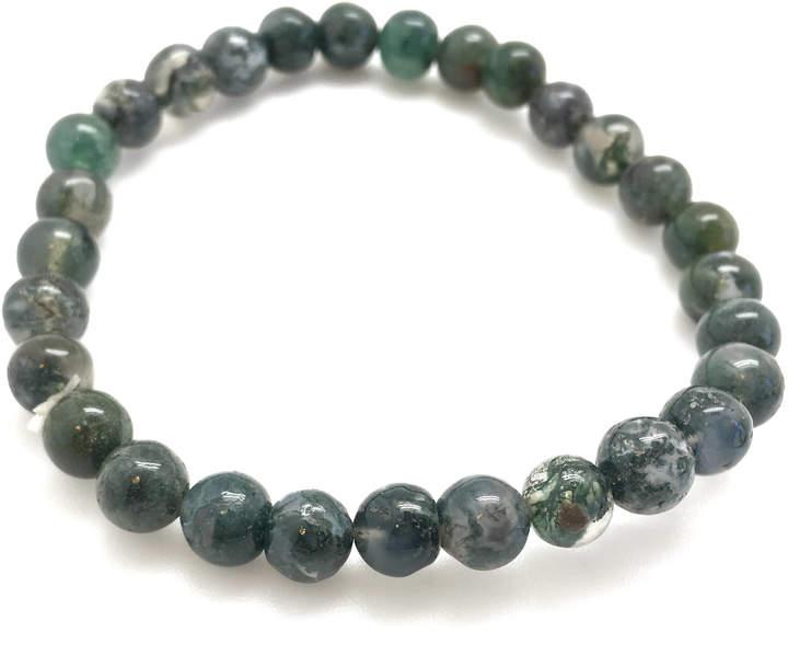 Etsy Moss Agate Bracelet - Healing Crystal Bracelet - Moss Agate Jewelry - moss agate elastic bracelet -