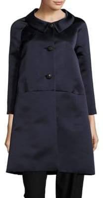 Barbara Tfank Solid Button-Down Trapeze Coat