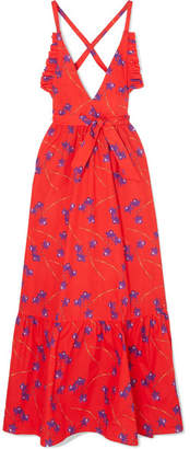 Borgo De Nor - Violeta Ruffle-trimmed Printed Cotton-poplin Maxi Dress - Red