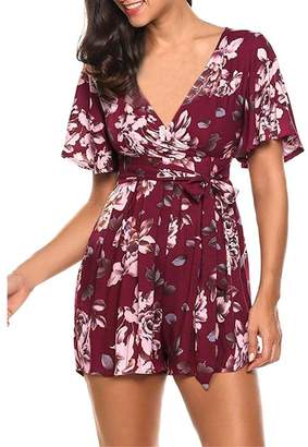 Bohemia SWPS Women Rompers Jumpsuit Playsuit Floral Printing Short Sleeve V Neck