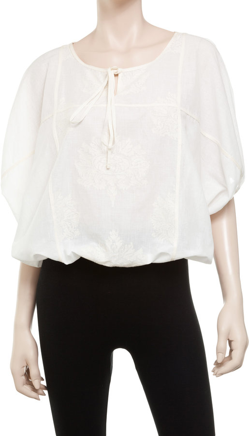 Max Studio Embroidered Dolman Tie Front Blouse
