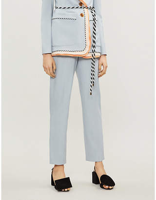 Peter Pilotto Contrast-trim tapered cropped stretch-woven trousers