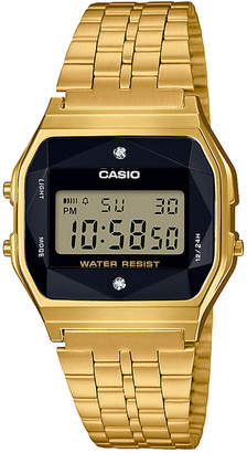 Casio G-Shock Unisex Digital Vintage Diamond (1/10 ct. t.w.) Gold-Tone Stainless Steel Bracelet Watch 37mm