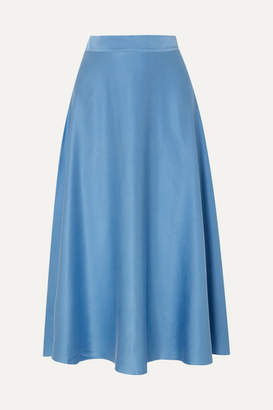ARoss Girl x Soler Alex Silk-satin Midi Skirt - Light blue