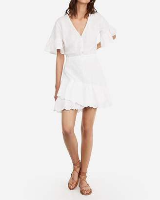 Express Eyelet Lace Flutter Sleeve Dress