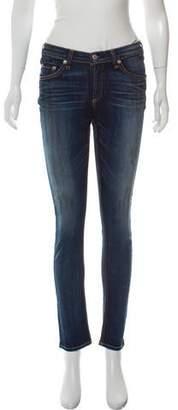 Rag & Bone Mid-Rise Oil Stain Skinny Jeans