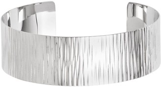 Sterling Silver Polished Textured Wide Cuff, 19.0g