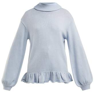 Pandora Shrimps Ruffle Trimmed Wool Blend Sweater - Womens - Blue