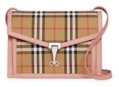 Burberry Small Macken Leather& Vintage Check Crossbody Bag