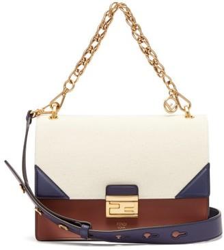 Fendi Kan U Leather Cross Body Bag - Womens - Cream Multi