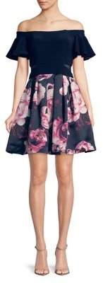 Xscape Evenings Floral Off-Shoulder Party Dress