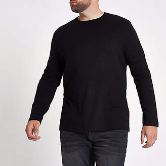 River Island Big and Tall black rib crew neck T-shirt
