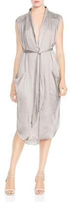 Halston Ruched Pocket Shirt Dress