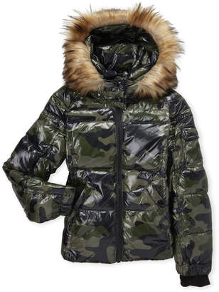 a4e18a5b54810 S13 Girls 7-16) Camouflage Faux Fur Trim Hooded Down Coat