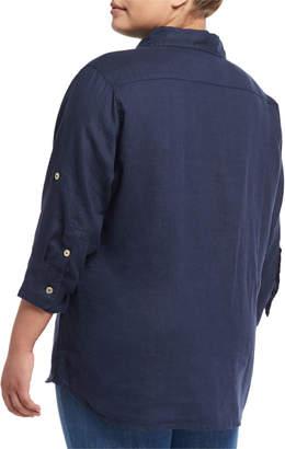Allen Allen Plus 3/4-Sleeve Big Linen Shirt, Plus Size