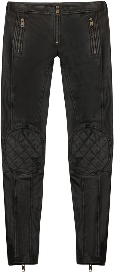Alexander McQueen Cropped Biker Leather Trousers