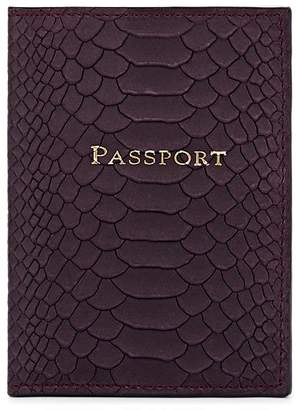 Barneys New York MEN'S PYTHON-EMBOSSED LEATHER PASSPORT CASE - PURPLE