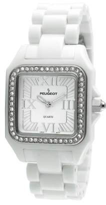 Peugeot Women's 7062WT Swarovski Crystal Bezel White Acrylic Watch
