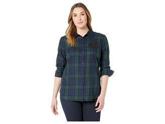 Lauren Ralph Lauren Plus Size Patch Tartan Cotton Shirt