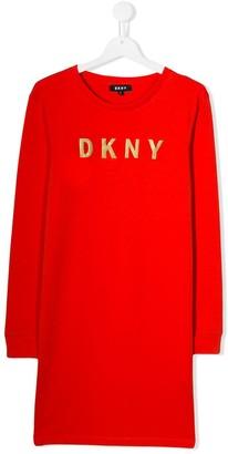 DKNY TEEN foil logo T-shirt dress