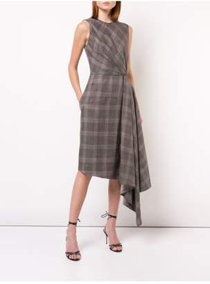 ADAM by Adam Lippes Loro Piana Plaid Draped Sleeveless Crewneck Dress