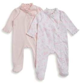 Little Me Baby Girl's Set Of Two Cotton Footies