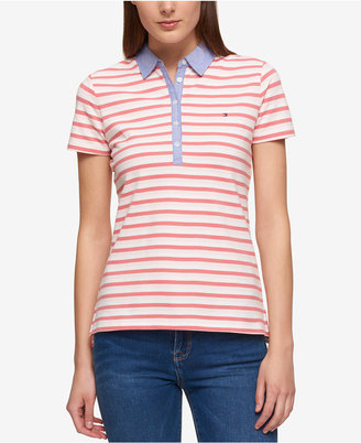 Tommy Hilfiger Striped Chambray-Collar Polo, Created for Macy's $39.50 thestylecure.com