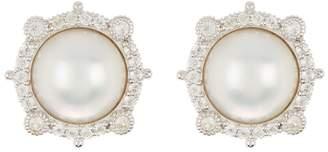 Judith Ripka Sterling Silver 10mm Mabe Pearl Stud Earrings